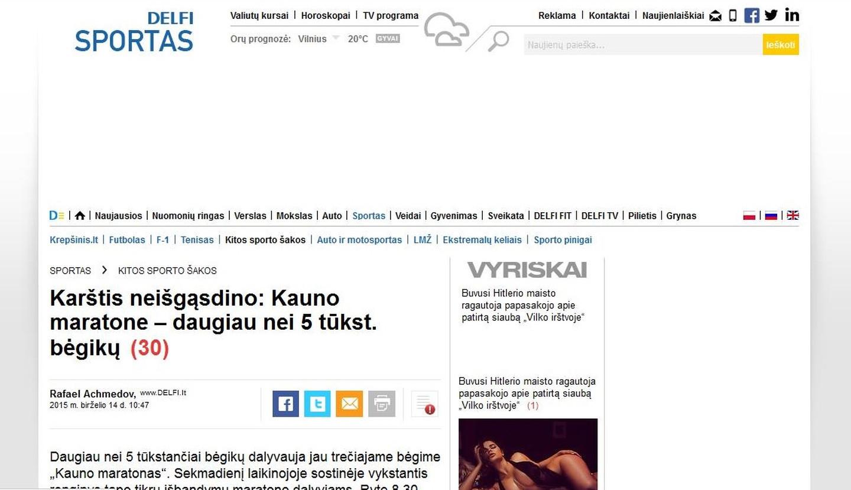 Kauno maratonas portale delfi.lt Komunikacijos kampanijos metu, straipsniai 1-2 kartus per savaitę pagrindinėse žiniasklaidos priemonėse.