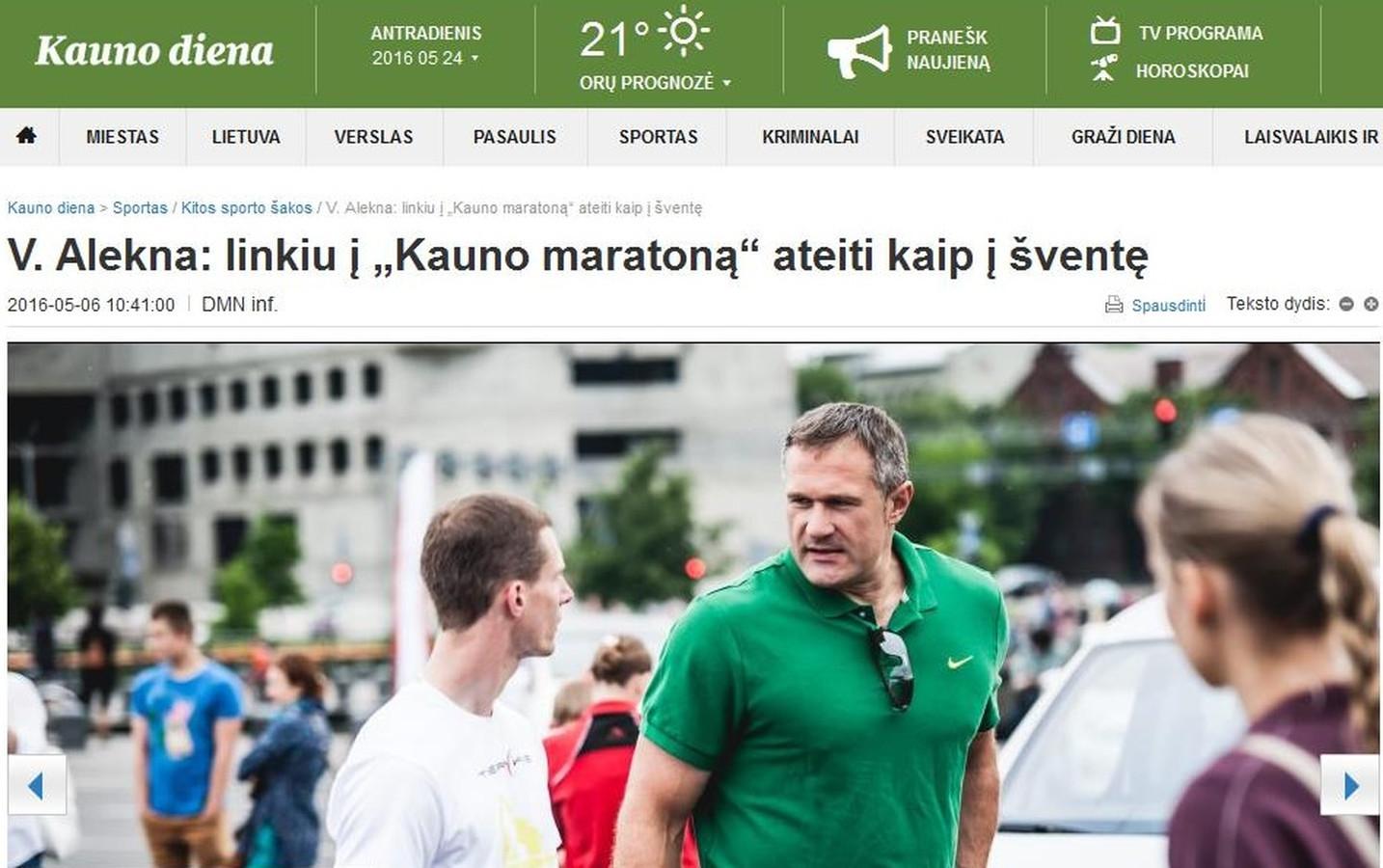 """Kauno maratonas dienraštyje """"Kauno diena""""."""
