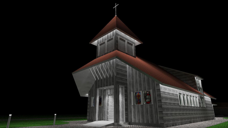 Slengių bažnyčios apšvietimo vizualizacija