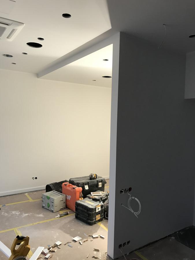 Atlikti darbai:  - pakabinamų lubų montavimas GKP plokšte (Knauf sistema), - GKP pertvarų montavimas (Knauf sistema).