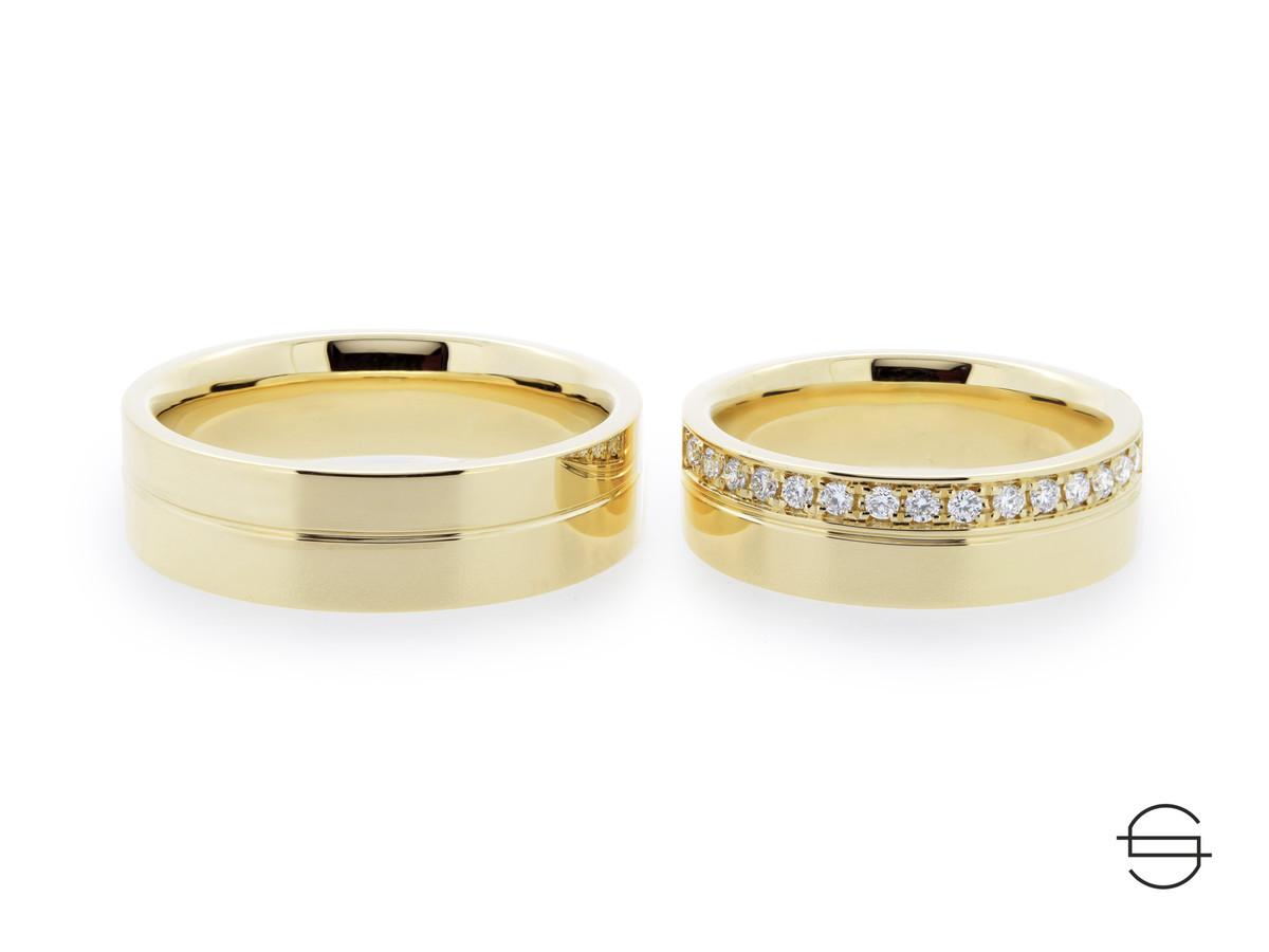 Geltono aukso vestuviniai žiedai. JOS žiedas puoštas 15 briliantų