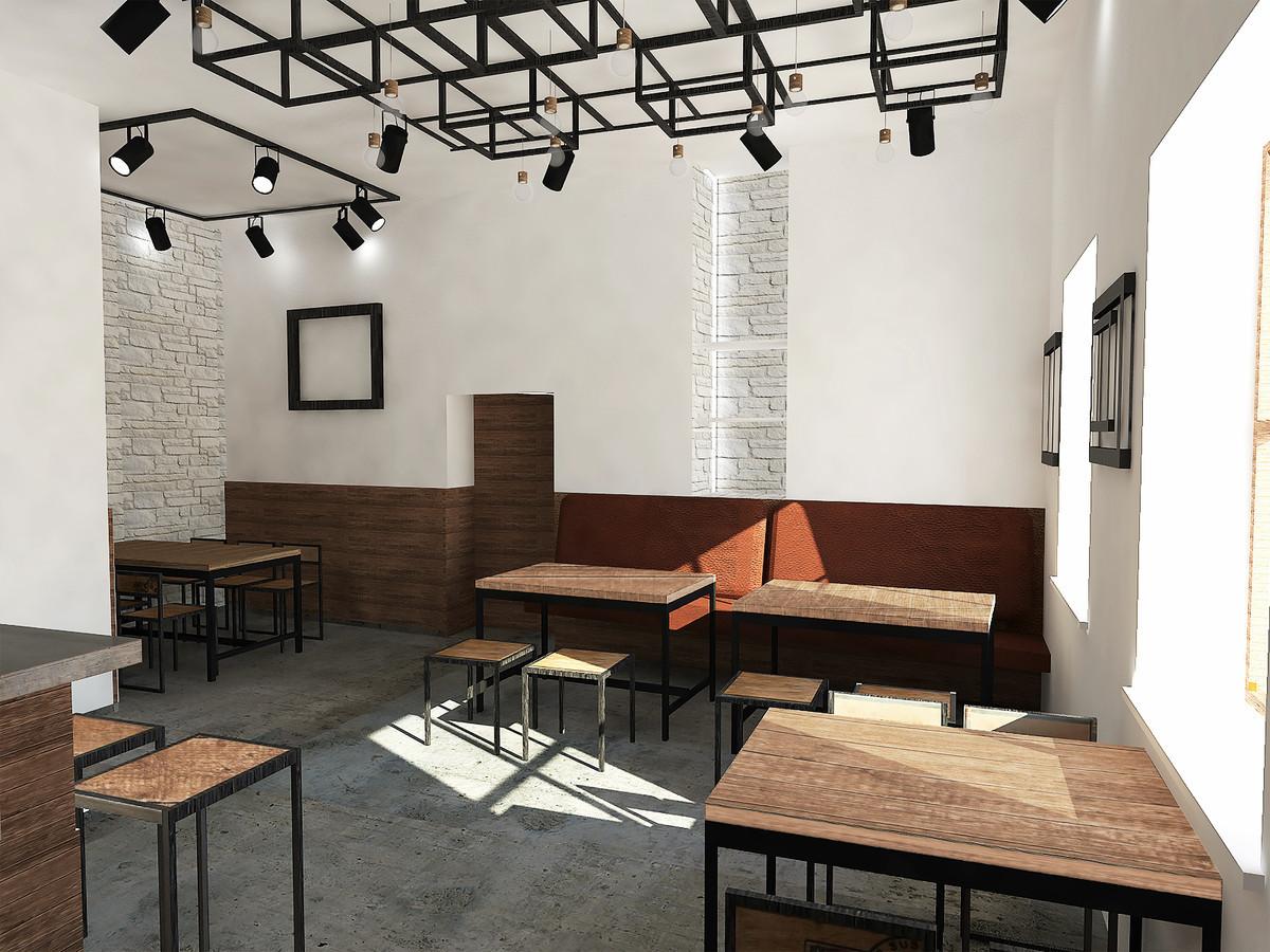 Alaus degustavimo baras. Atsižvelgta į tai, kad patalpos yra miesto senamiestyje, todėl interjeras kurtas principu: sena - nauja. Individualiai projektuotas baras, bei lubų konstrukcija.