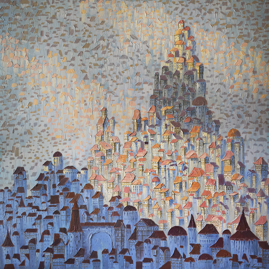 """(PARDUOTAS) """"Tūkstančių Miestas"""" aliejiniai dažai ant drobės 80x80cm."""