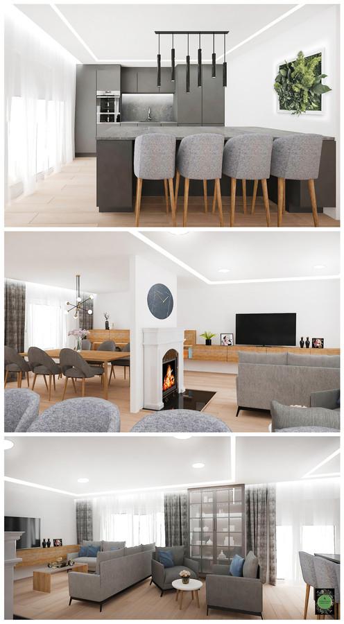 Virtuvės ir svetainės interjeras. Švedija.
