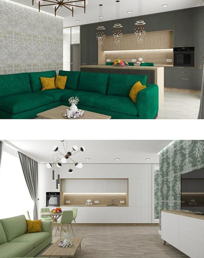 Virtuvės ir svetainės zona.