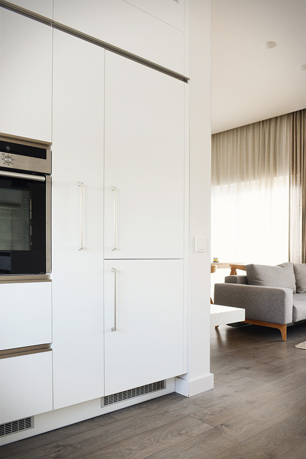 Modernaus stiliaus virtuvės interjeras. Virtuvės baldai suprojektuoti būtent šiems namams.