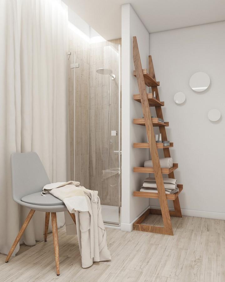 Spa interjeras. Lentyna - kopetelės atremtos į dušo kabinos sieną ir daugybė kitų daiktų, suprojektuotų šiam SPA centrui, galėtų būti naudojami ir privačioje erdvėje.