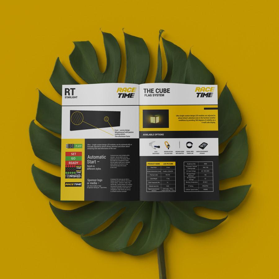 """Brošiūra sukurta - ,,RACE TIME"""" Brošiūroje pristatoma įmonės produkcija, techninė specifikacija, galimybės."""