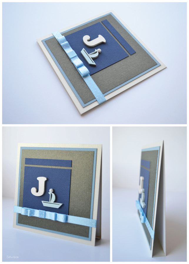 Rankų darbo atvirukas gimtadienio proga/krikštynų proga. Dydis - 140 x 140  (gali būti ir su vokeliu/dėžute).