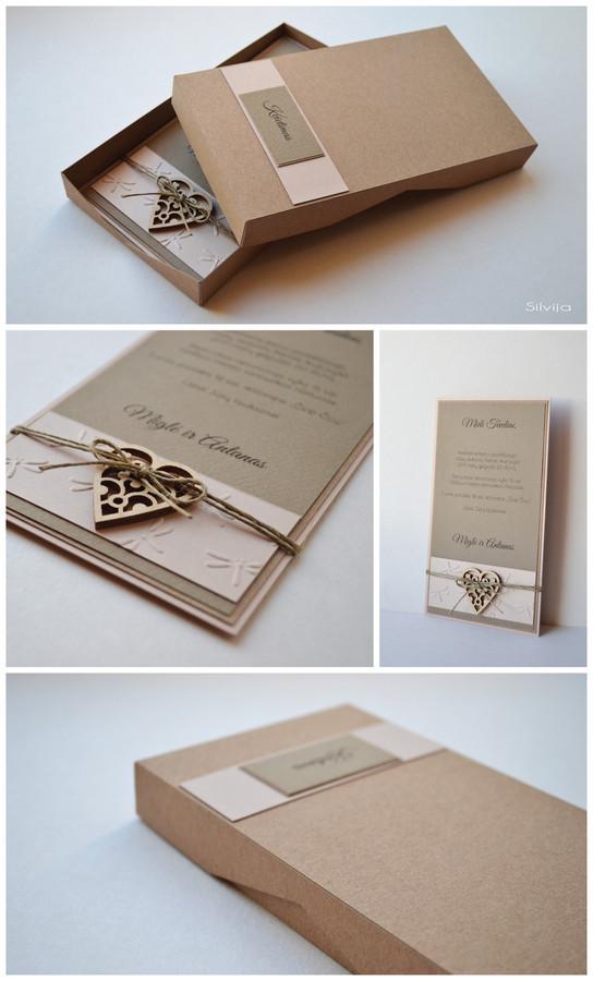 Kvietimas į vestuves. Dvi dalys -  dėžutė ir kvietimo kortelė. Dydis - 180 x 100 Kokybiška spauda + rankų darbas.
