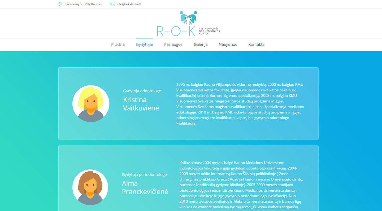 ROK klinika svetainės kūrimas (daugiau darbų www.tackis.lt)