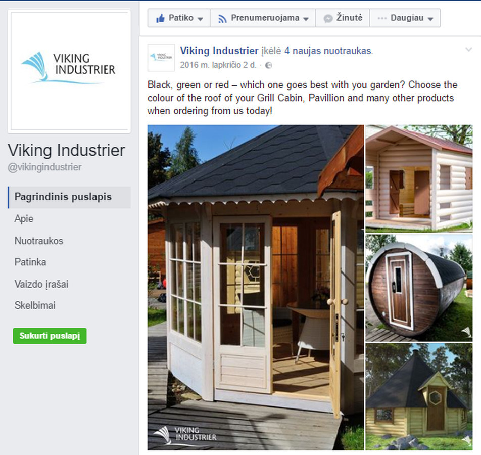 """Norvegijos kapitalo įmonės """"Viking Industrier"""" Facebook puslapio anglų kalba įrašų kūrimas ir administravimas."""