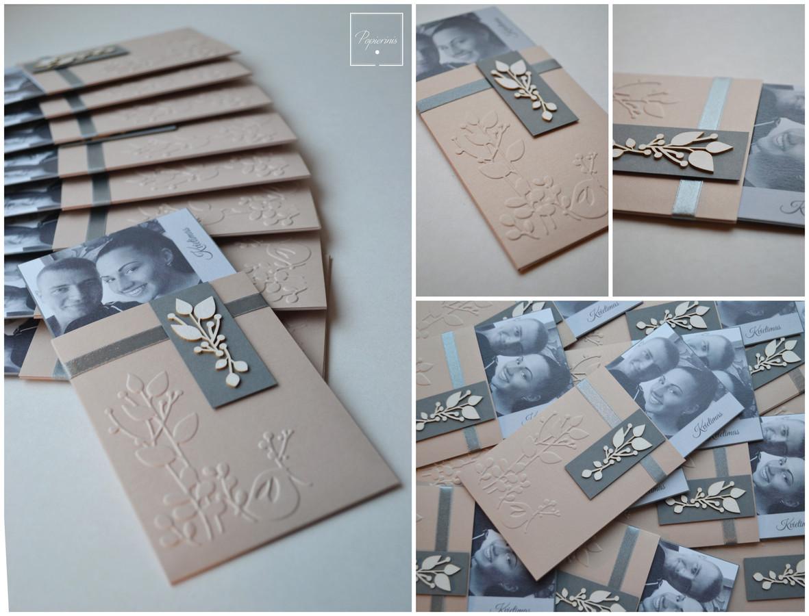 Kvietimas į vestuves. Dydis - 95 x 190. Dvi dalys - pagrindas su tekstu ir nuotrauka bei stilizuotas vokelis. Kokybiška spauda + rankų darbas.