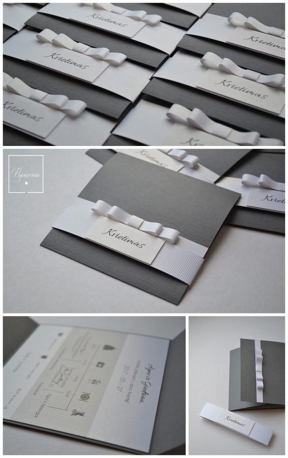 Kvietimas į vestuves. Dydis - 120 x 120. Dvi dalys - kvietimo pagrindas su tekstu (blizgus popierius) ir stilizuotas kaspinėlis (mova). Kokybiška spauda + rankų darbas.
