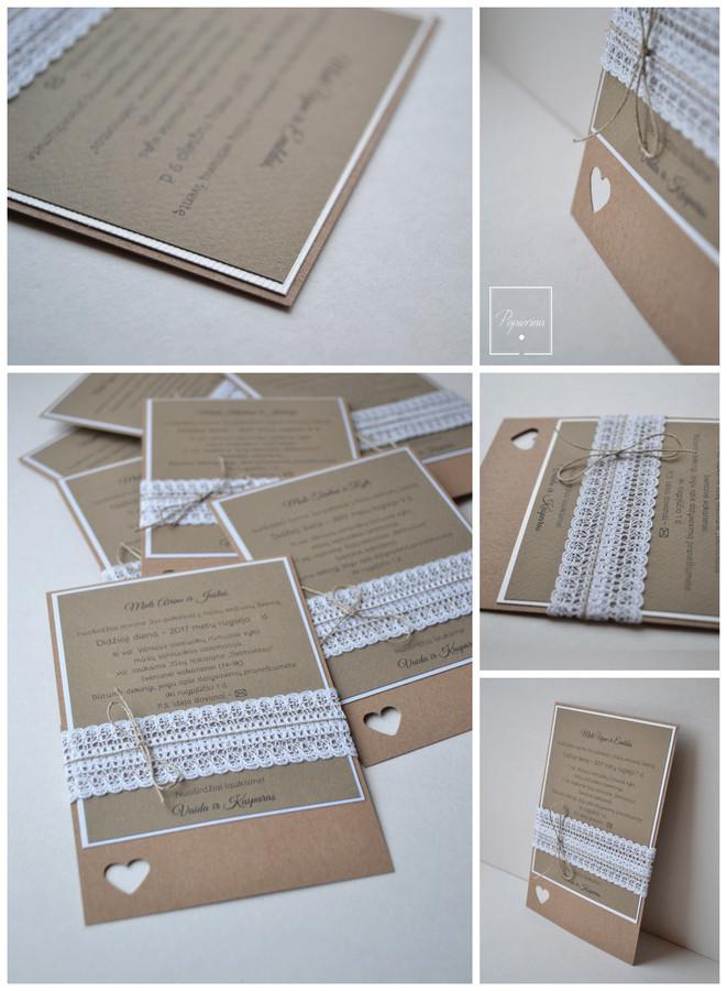 Kvietimas į vestuves - teksto kortelė su lino juostele. Dydis - 160 x 100. Kokybiška spauda + rankų darbas.
