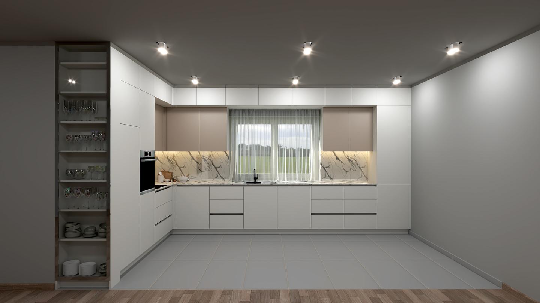 Virtuvės baldų komplekto vizualizacija. Planuojamos medžiagos: Dažyto MDF plokštė, compact HPL stalviršis.