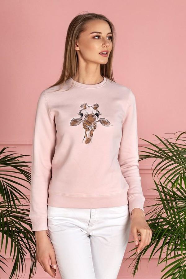 """Nuotaikingas rausvas džemperis """"Pikta žirafa"""" – komfortiškas, švelnus (su lengvu pūkeliu iš vidaus) demisezoninis drabužis. Džemperį puošia unikalus išsiuvinėtas piešinys."""