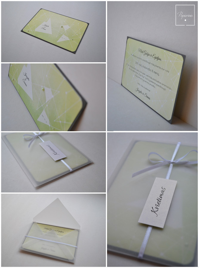 Kvietimas į vestuves. Dydis - 150 x 100. Dvi dalys - kvietimo pagrindas su tekstu ir skaidrus vokelis su kaspinėliu. Kokybiška spauda + rankų darbas.