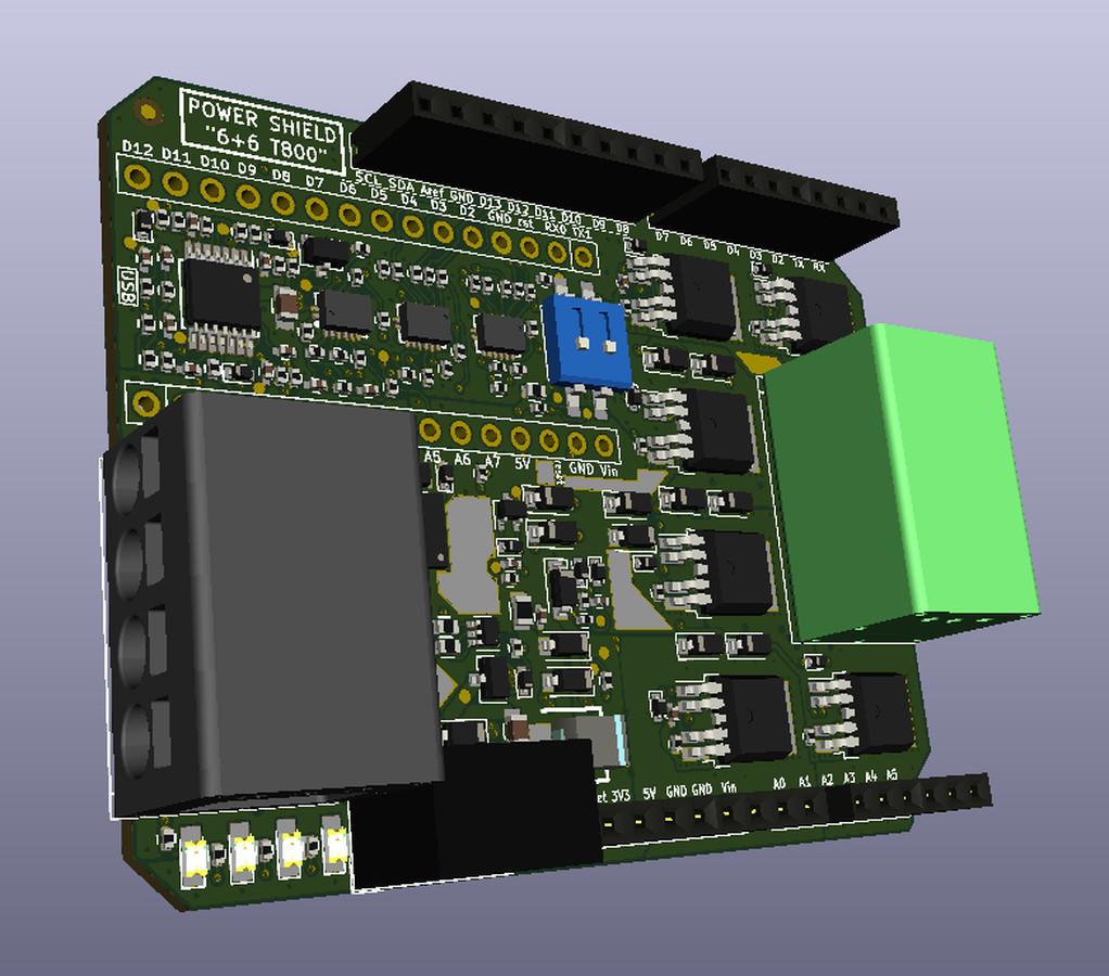 """Multifunkcinis """"Galios Skydas 6+6 T800"""" skirtas įvairiausiems Arduino tipo mikrokontroleriams (tokiems kaip Intel-Edison, STM32-Nucleo, Sony-Spresense ir panašiai)."""