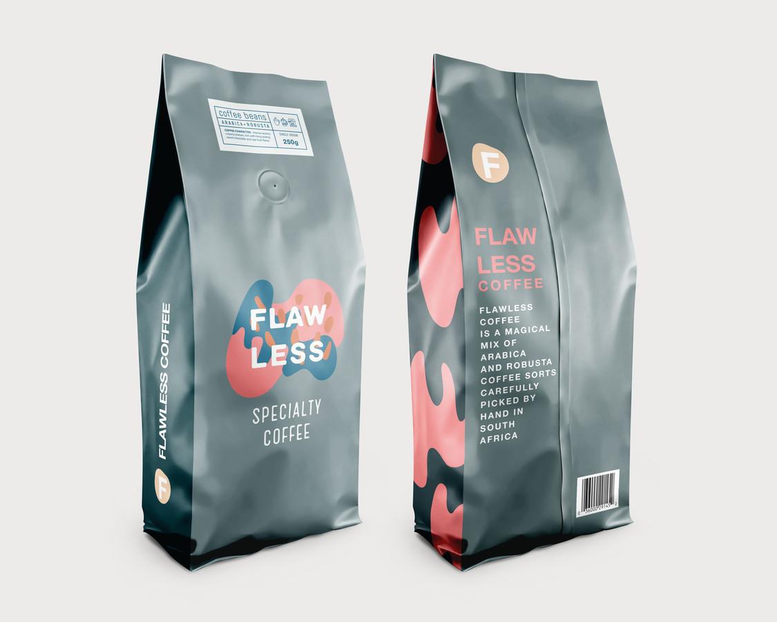 """Pietų Afrikos kavos gamintojui skirta kavos pakuotė """"Flawless Coffee"""""""