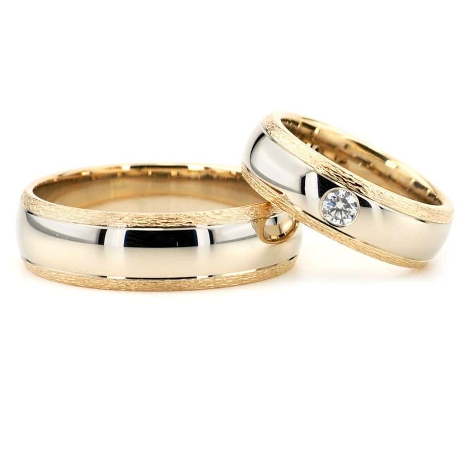 Dviejų spalvų vestuviniai žiedai su briliantu