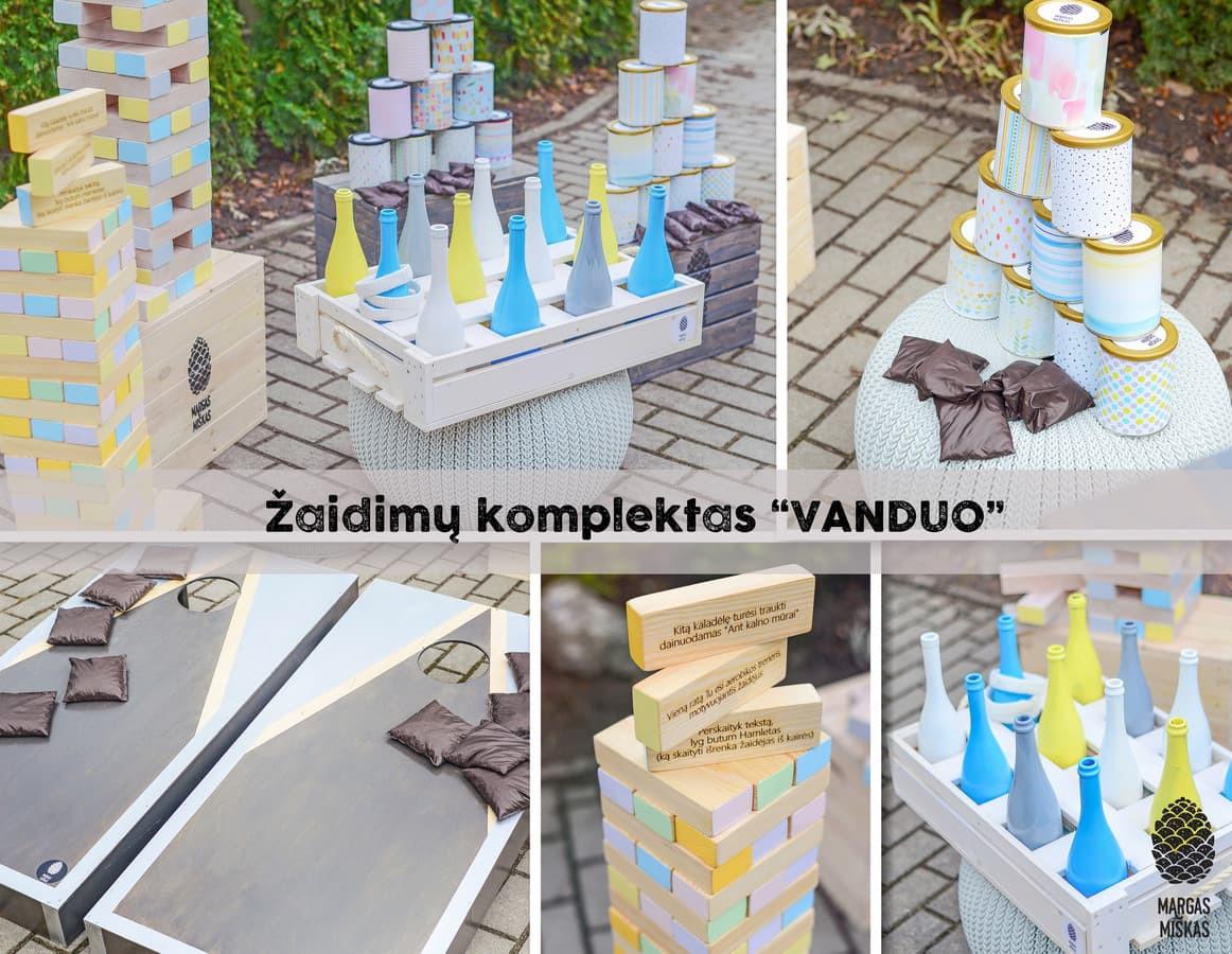 """Žaidimų komplektas """"Vanduo"""", kurį sudaro 4 žaidimai: """"KankoRaižis Milžinas"""" (Jenga XXL) +  """"Baggo"""" + """"Žiedynės"""" + """"SkardinMūšis""""."""