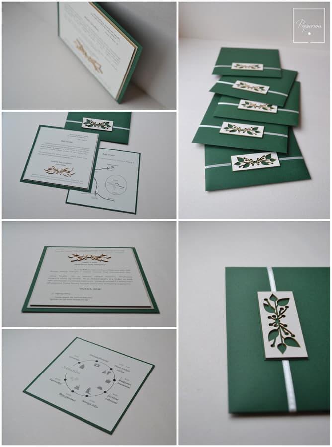 Kvietimas. Trys dalys - kvietimo pagrindas su tekstu, papildomos informacijos kortelė (su žemėlapiu ir scenarijumi) bei rankų darbo vokas.  Dydis - 160 x 160.