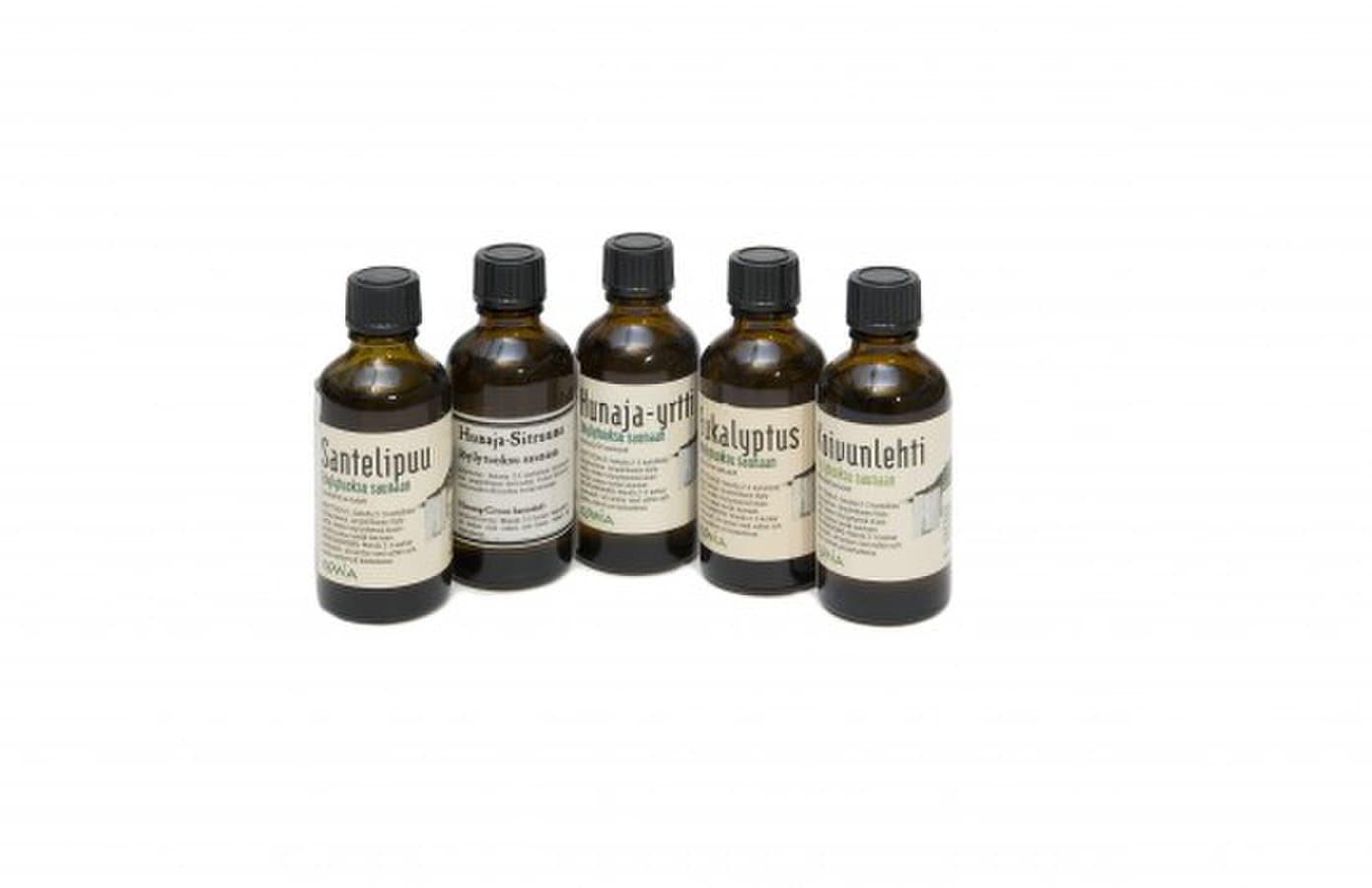 Įvairių rūšių kvapai pirtims, 50 ml: Eukalipto Beržo Medaus-žolelių Medaus-citrinų Santalmedžio Kadagio Naudojimo instrukcija: sumaišykite 2-3 kamštelius kvapo su 5 litrais vandens.