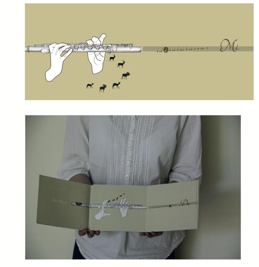 Muzikos garų atvaizdavimas mokomojoje knygoje