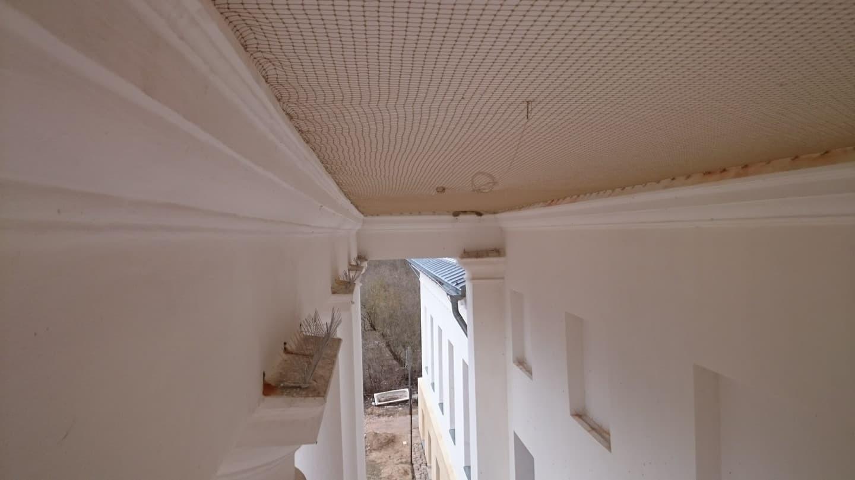 Dvare Molėtų rajone sumontuotas tinklas nuo kregždžių, uždengiantis stogo etmę ir spygliai nuo balandžių ant kolonų viršaus.