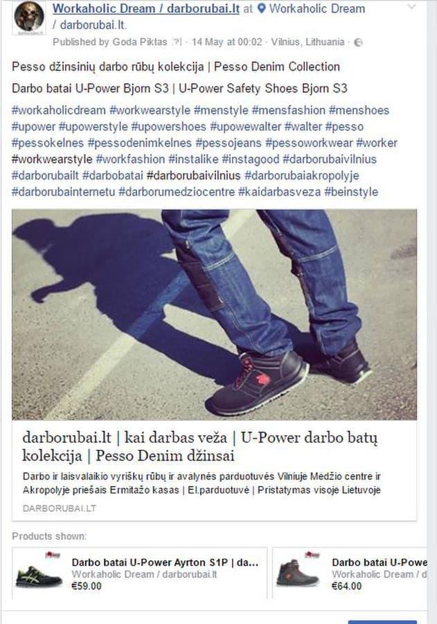 Facebook profilis: Workaholic Dream | darborubai.lt  PVZ.: aktyvus link'as į tinklalapį su papildomomis nuorodomis į atskiras prekes ir į Facebook platformos parduotuvę