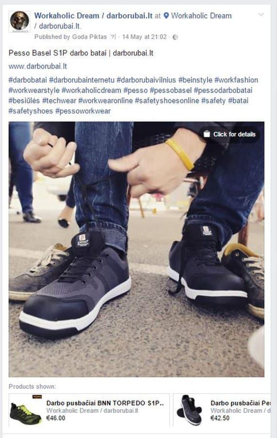 Facebook profilis: Workaholic Dream | darborubai.lt  PVZ.:  Dubliuotas Instagram nuotraukos pranešimas, su papildomomis nuorodomis į atskiras prekes ir į Facebook platformos parduotuvę