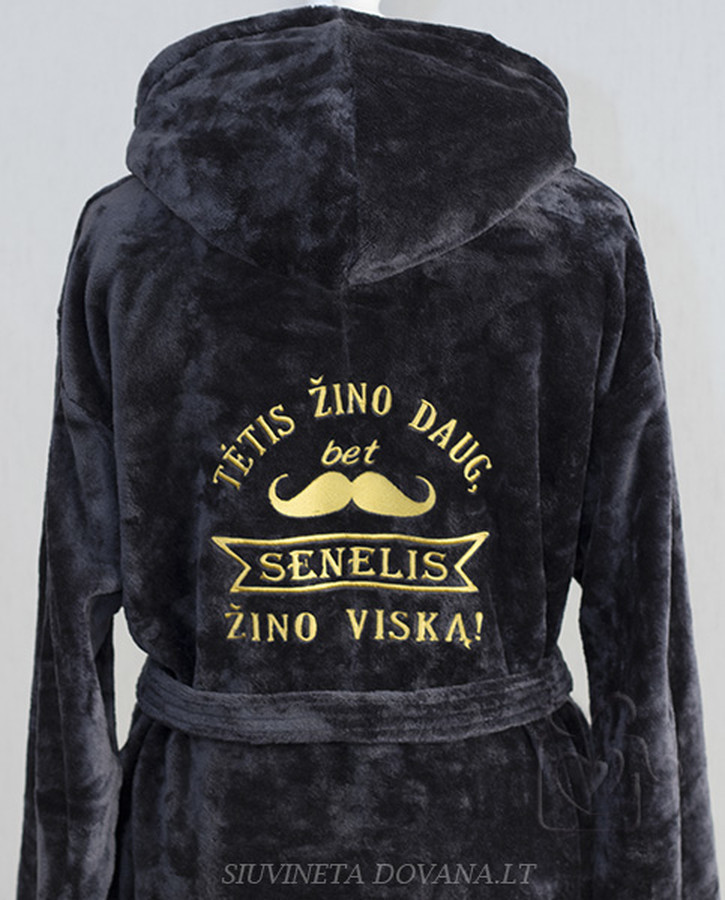 Siuvinėjimas ant chalatų ir kitos tekstilės pagal individualius užsakymus įvairioms progoms. Minimalus kiekis - 1 vnt.