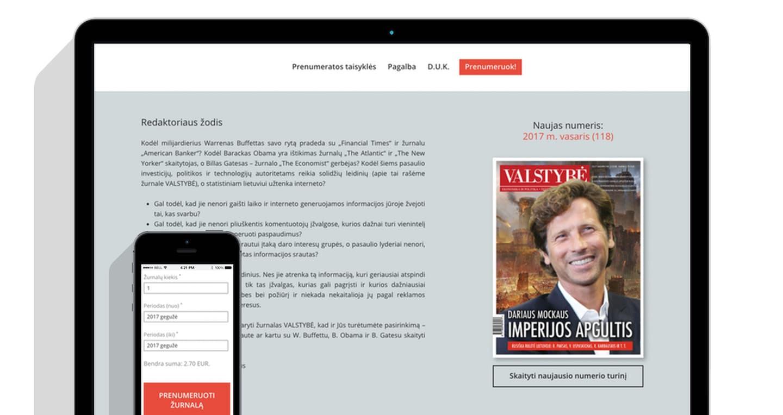 Minimalistinė svetainė (WWW.VALSTYBE-PRENUMERATA.LT)