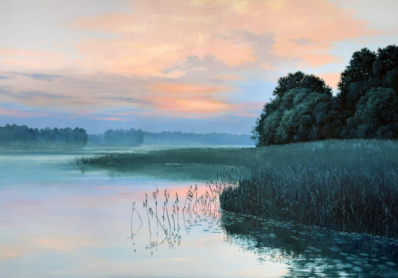 """""""Vakaras prie ežero"""" Paveikslas tapytas ant drobės, aliejiniai dažai, dydis 100x70cm (PARDUOTA)"""