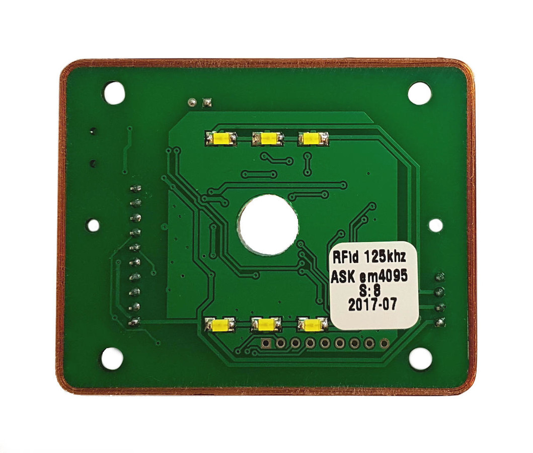 Labai kompaktiškas RF-ID ASK 125khz mini skaitytuvas su rite suvyniota tiesiog and PCB krašto. Su pašvietimu. STM32 mikrovaldiklis. Projektas paruoštas masinei gamybai. Yra ir 13Mhz MIFARE versija.