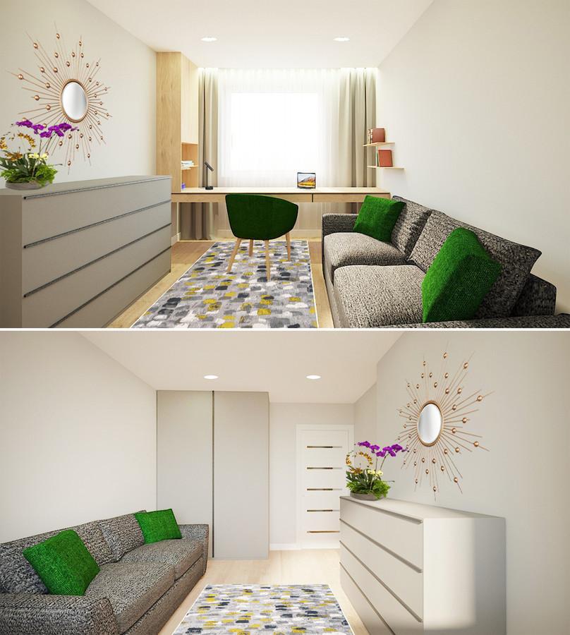 Darbo zona ir svečių kambarys. Mažeikiai. Projektas nr. 3