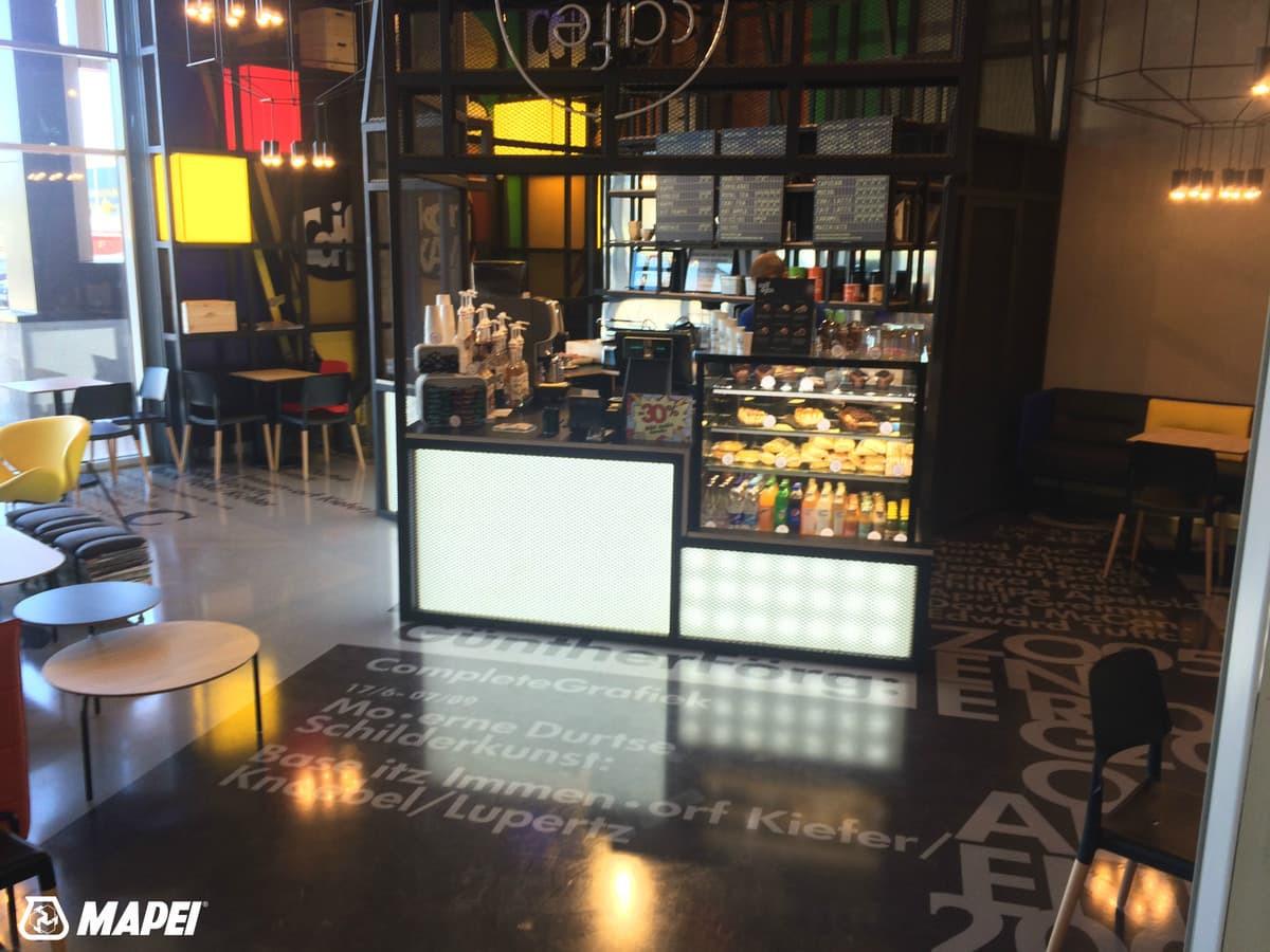 """3D grindys kavinėje """"Caif cafe"""" Vilniuje. Panaudotas specialus 3D grindims skirtas skaidrus epoksidas MAPEFLOOR I 300 SL TRP: http://www.mapei.com/public/COM/products/2051_mapefloor_i_300_sl_trp_gb.pd"""