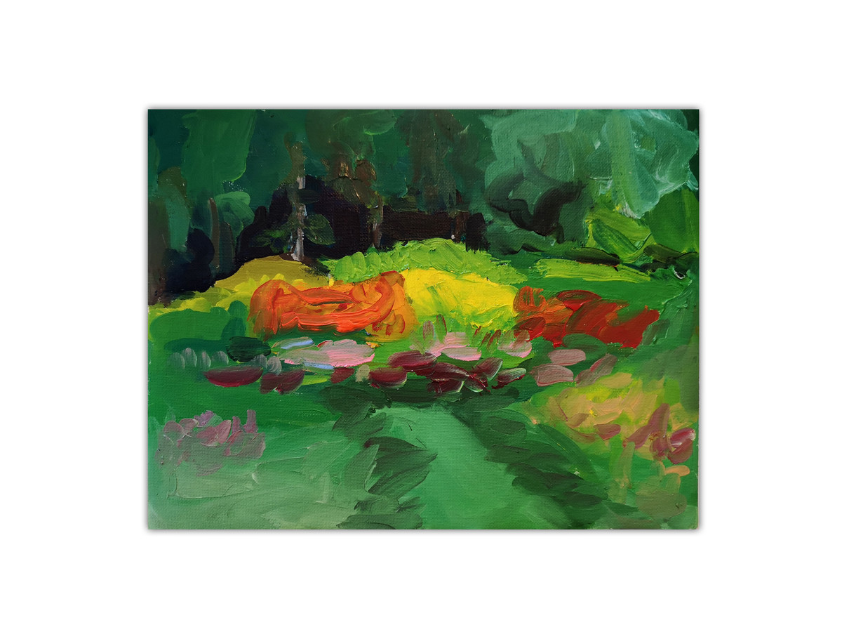 """Parduodamas. """"Botanikos sodas"""" Aliejus-drobė, 296 x 227 mm. Kaina be rėmo."""