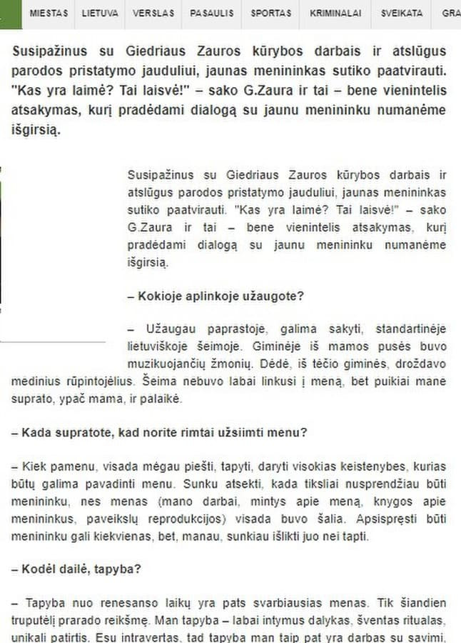 Ištrauka iš publikuoto straipsnio