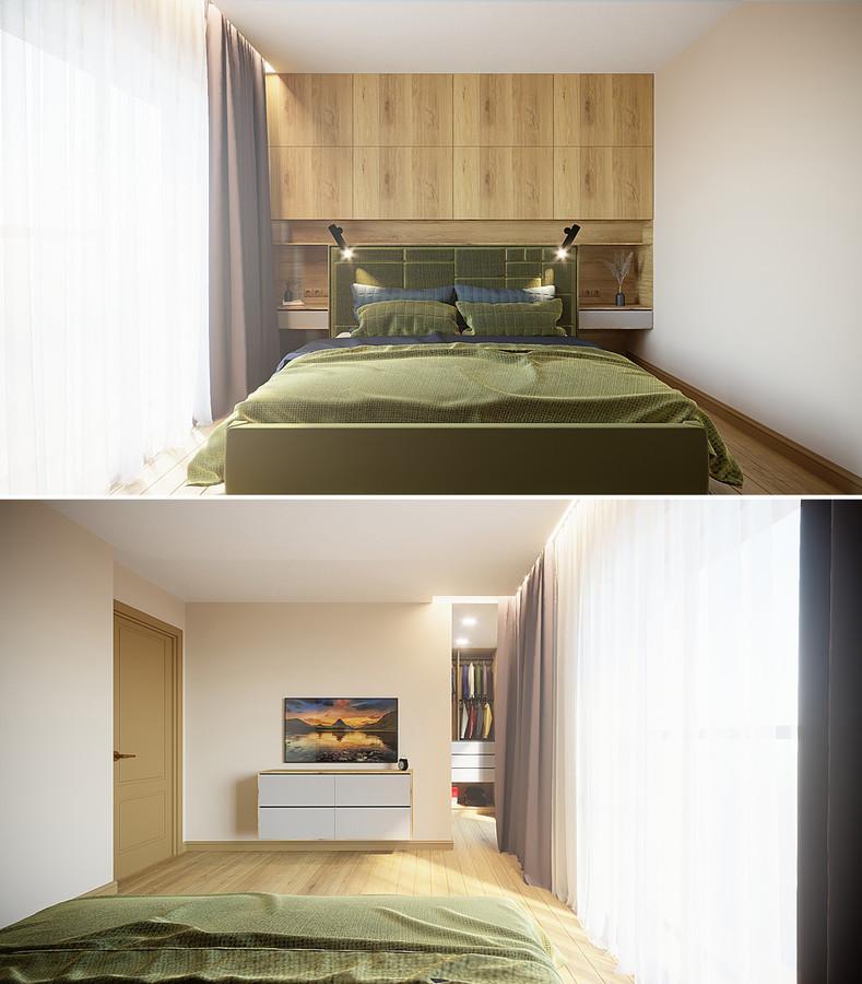 Miegamojo kambarys su atskira drabužine. Klaipėda.
