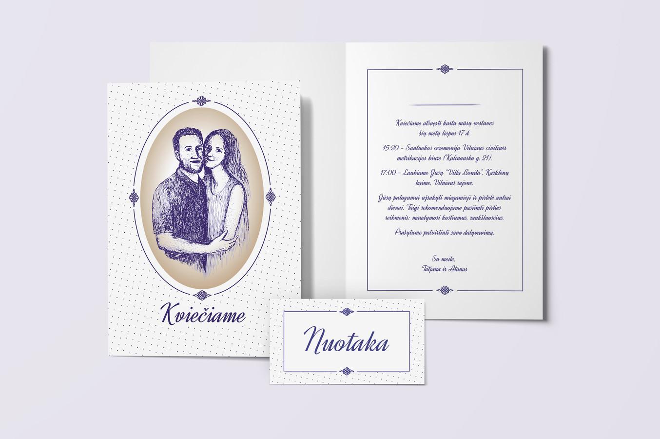 Vestuvių kvietimas ir stalo kortelė