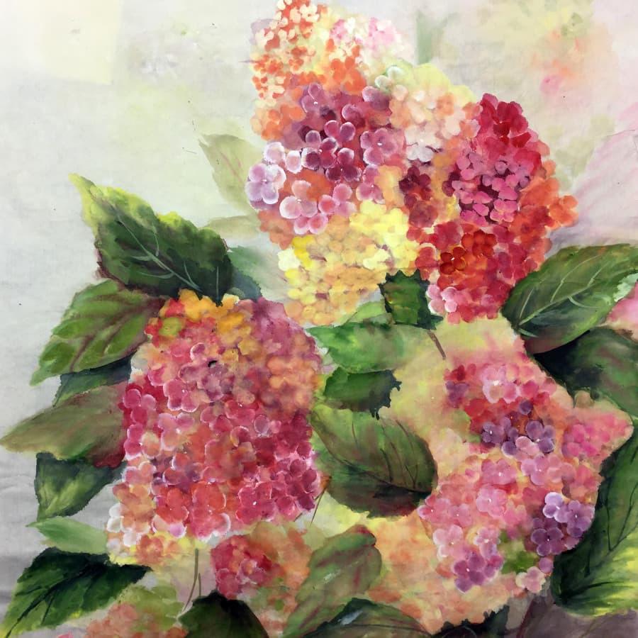 """""""Rudens hortenzijos"""", 30 x 40, mineraliniai dažai, ryžių popierius. Parduodamas"""