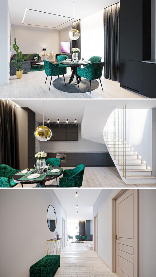 Virtuvės ir svetainės interjero projektas. Klaipėda. Projektas nr.2