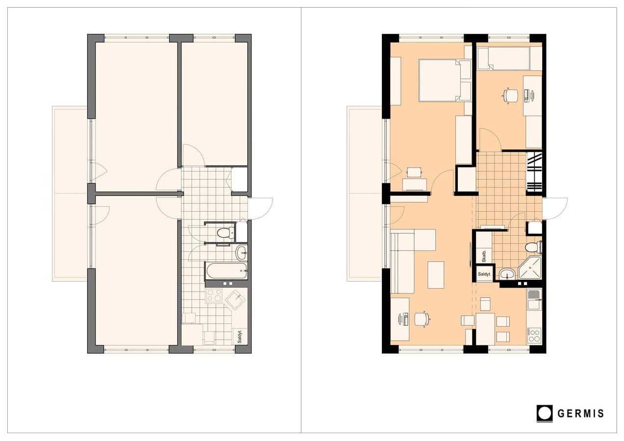Butų perplanavimas ir kapitalinio remonto projektas tipiniuose daugiabučiuose, taip pat ir bliokinuose.