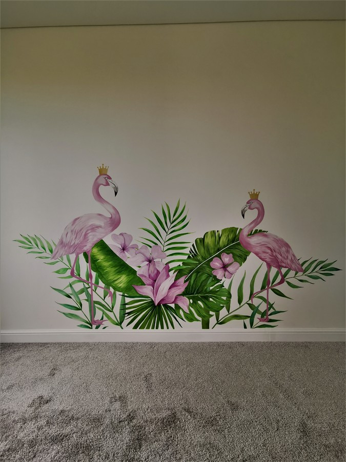 Mergaitės kambario sienos dekoravimas