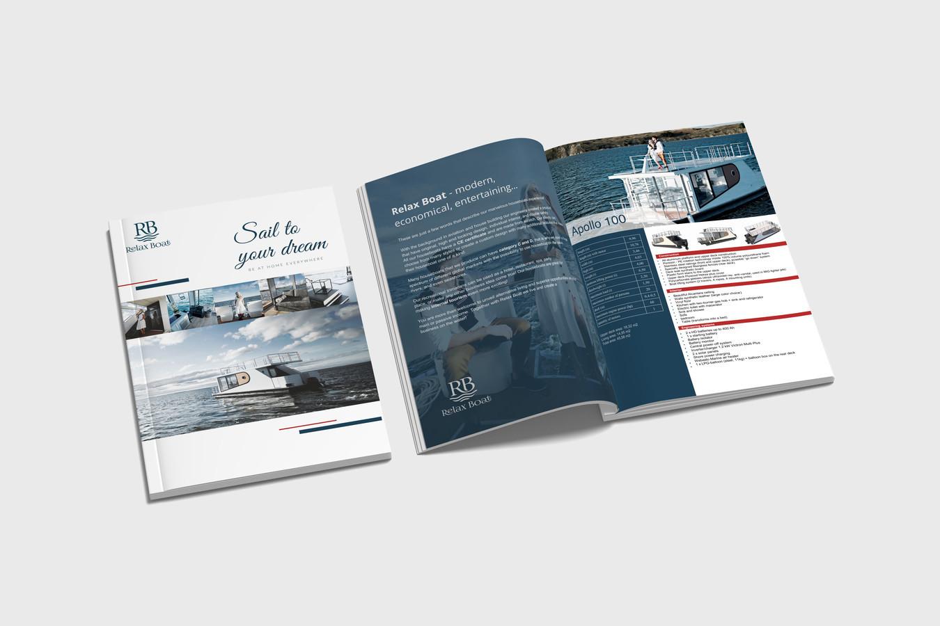 Katalogas, - Relax Boats, įmonė vysto prekybą laivais. Kataloge pateiksti visi aprašymai, prekių nuotraukos, medžiaga suruošta naujam pirkėjui