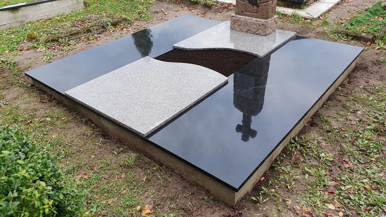 Kapavietės projekto įrengimas, dengimas granito plokšte.