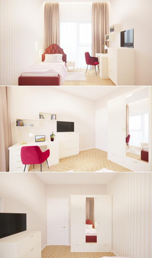 Mergaitės kambarys, lengva klasika. Projektas nr.1