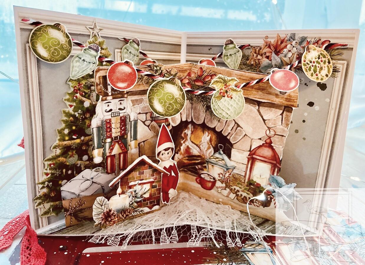 Pavyzdys. Kalėdinis sveikinimo atvirukas su 3D detalėmis